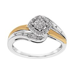 Promise Love Forever Two-Tone 14k Rose Gold over Silver 1/10 Carat T.W. Diamond Ring