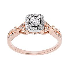 Promise Love Forever 14k Rose Gold Over Silver 1/4 Carat T.W. Diamond Ring