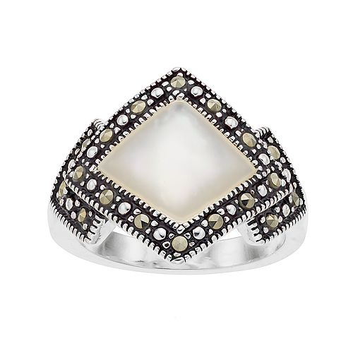 Silver Plated Mother-of-Pearl & Marcasite Ring