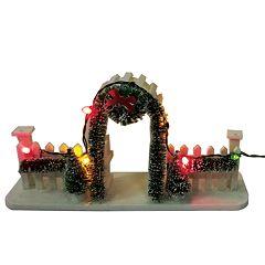 St. Nicholas Square® Village Fench with Garland and Wreath