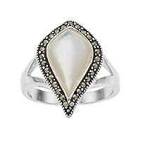 Silver Plated Mother-of-Pearl & Marcasite Teardrop Ring