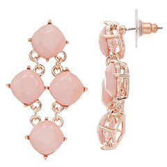 Rose Gold Tone Pink Kite Earrings