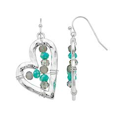 Believe In Beaded Nickel Free Heart Drop Earrings