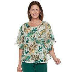 Women's Alfred Dunner Studio Leaf Overlay Top