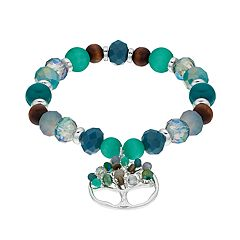 Believe In Beaded Tree of Life Charm Stretch Bracelet