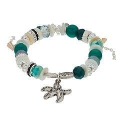Believe In Beaded Starfish Charm Stretch Bracelet