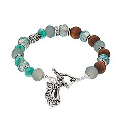 Believe In Beaded Owl Charm Toggle Bracelet