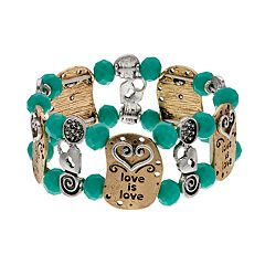 Believe In Two Tone Beaded 'Love is Love' Stretch Bracelet