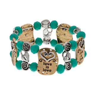 "Believe In Two Tone Beaded ""Love is Love"" Stretch Bracelet"