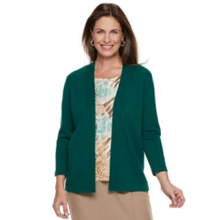Women's Alfred Dunner Studio Mock-Layer Print Cardigan