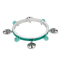 Believe In Teal Tree of Life Stretch Bracelet