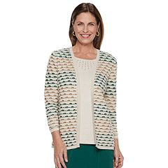 Women's Alfred Dunner Studio Textured Mock-Layer Sweater