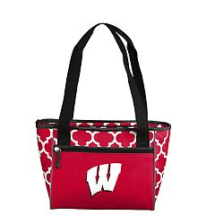 Logo Brand Wisconsin Badgers Quatrefoil 16-Can Cooler Tote