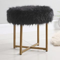HomePop Round Faux-Fur Stool End Table