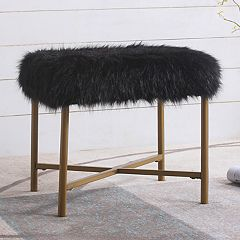 HomePop Square Faux-Fur Stool End Table