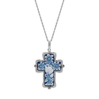 Sterling Silver Swarovski Crystal Floral Cross Pendant