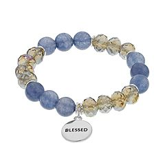 Gray Bead & 'Blessed' Charm Stretch Bracelet
