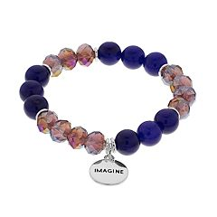 Purple Bead & 'Imagine' Charm Stretch Bracelet