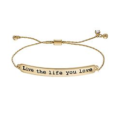 'Live the Life You Love' Adjustable Bracelet