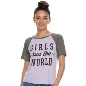 """Juniors' Burnout """"Girls Run The World"""" Graphic Tee"""