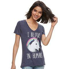 Juniors' Mighty Fine 'Believe In Humans' Unicorn V-Neck Tee