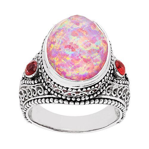 Sterling Silver Pink Opal Quartz Ring