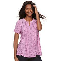 Women's Croft & Barrow® Jacquard Pintuck Henley Top