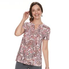 Women's Croft & Barrow® Jacquard Pintuck Henley Top