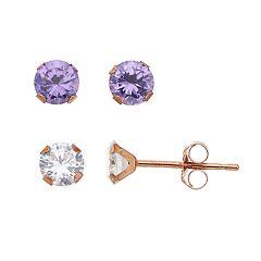 Taylor Grace 2-Pair 10k Rose Gold Cubic Zirconia Stud Earring Set