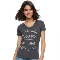 Juniors' Mighty Fine 'Love What You Do' V-Neck Tee