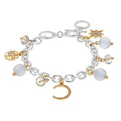 Star, Moon & Compass Charm Toggle Bracelet