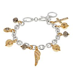 Cross, Wing & Bead Charm Toggle Bracelet