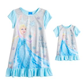 Disney's Frozen Elsa Toddler Girl Nightgown & Doll Nightgown