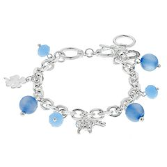 Four Leaf Clover, Elephant & Horseshoe Charm Toggle Bracelet