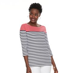 Women's Croft & Barrow® Button-Shoulder Boatneck Tee
