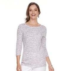 Women's Croft & Barrow® Button-Shoulder Boatneck Tee