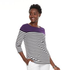 Women's Croft & Barrow® Button-Shoulder Boatneck Sweater
