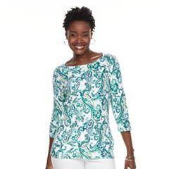 Women's Croft & Barrow® Button-Shoulder Boatneck Sweater