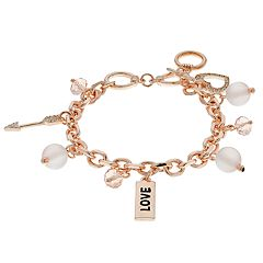 'Love,' Arrow & Heart Charm Toggle Bracelet