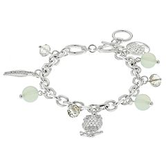 Tree of Life, Owl & Leaf Charm Toggle Bracelet
