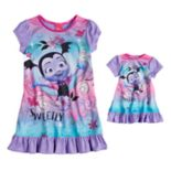 "Disney's Vampirina Toddler Girl ""Sweetly Vee"" Dorm Nightgown & Doll Nightgown Set"