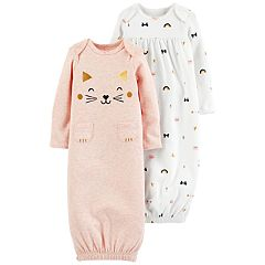 Baby Girl Carter's 2-Pack Cat Graphic & Bow Print Sleeper Gowns