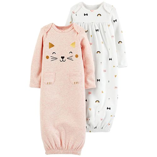 a98194a8b Baby Girl Carter's 2-Pack Cat Graphic & Bow Print Sleeper Gowns