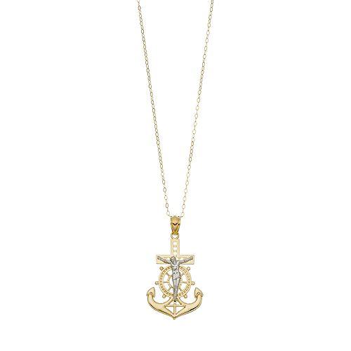 10k Gold Mariner Crucifix Pendant Necklace