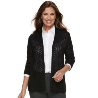 Petite Croft & Barrow® Chevron Stitch Open-Front Cardigan