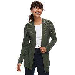 Petite Croft & Barrow® Pointelle Open Front Cardigan