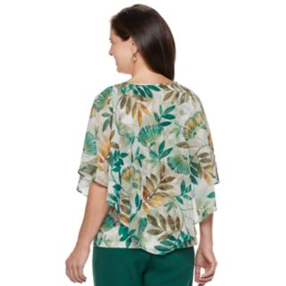 Petite Alfred Dunner Studio Leaf Overlay Top