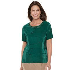 Petite Alfred Dunner Studio Tiered Pleat Top