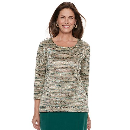 Petite Alfred Dunner Studio Embellished Space-Dyed Top