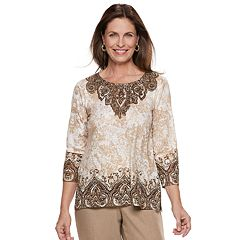Petite Alfred Dunner Studio Scroll Top